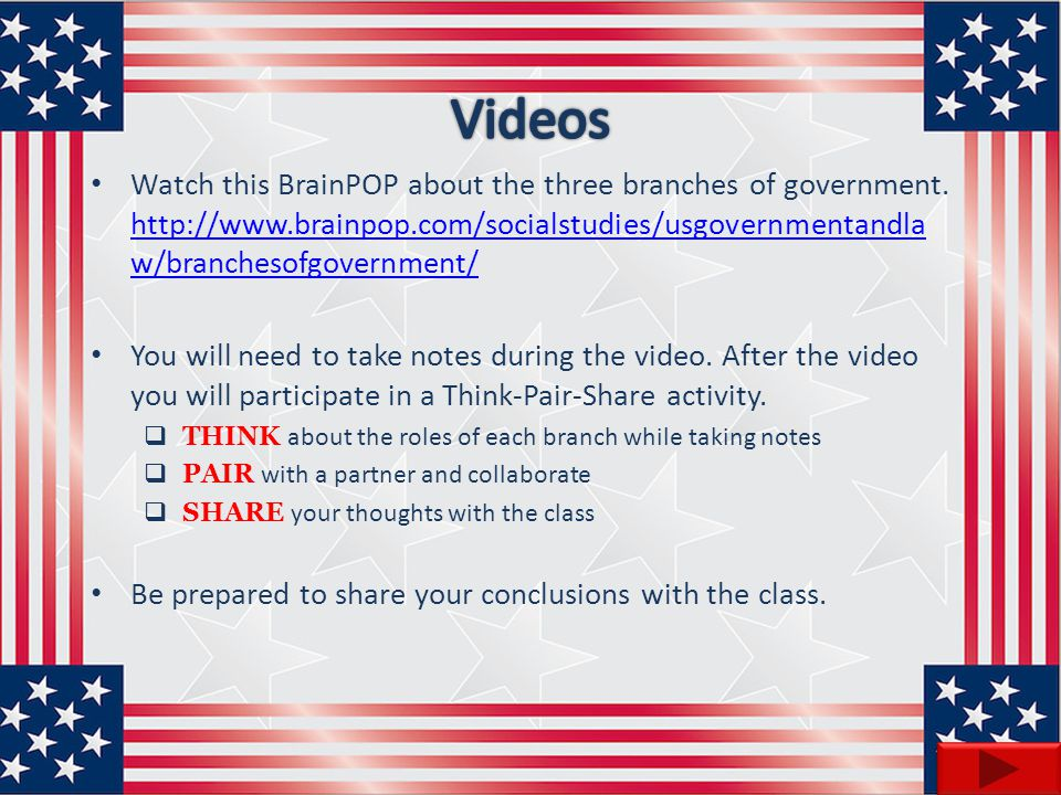Videos Watch this BrainPOP about the three branches of government. http://www.brainpop.com/socialstudies/usgovernmentandlaw/branchesofgovernment/