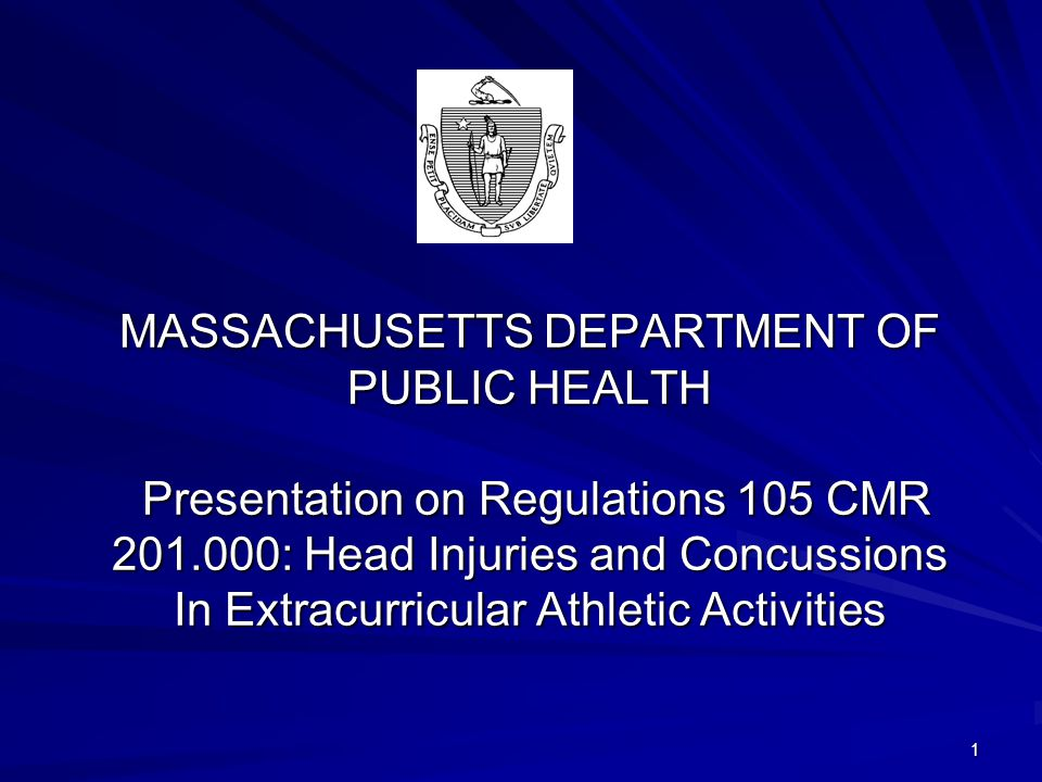 MASSACHUSETTS DEPARTMENT OF PUBLIC HEALTH Presentation on Regulations 105 CMR 201.000: Head Injuries and Concussions In Extracurricular Athletic Activities