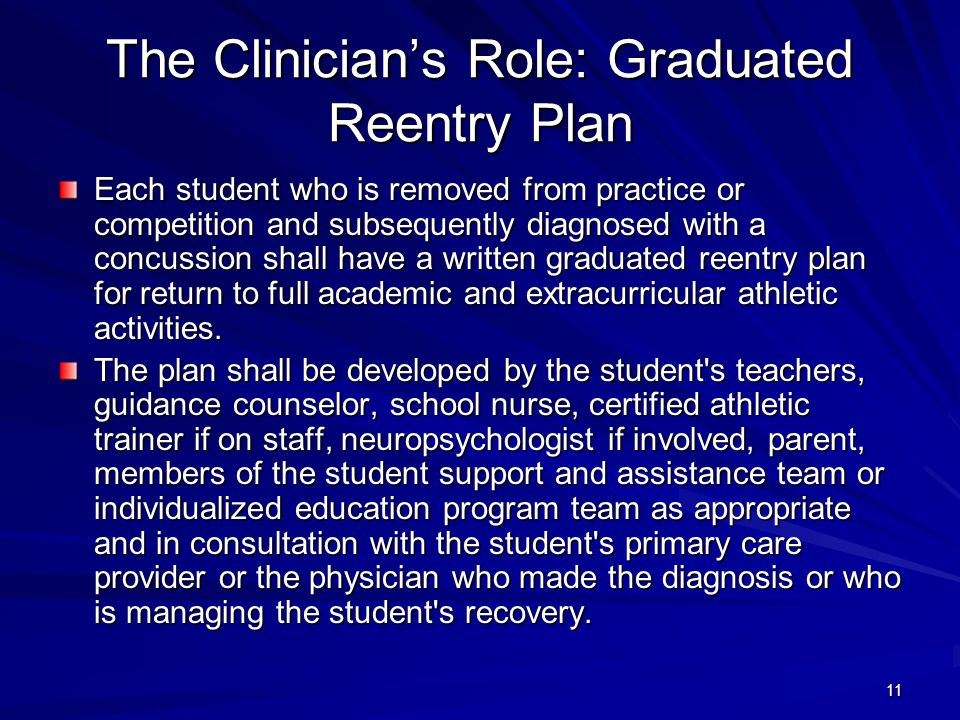 The Clinician's Role: Graduated Reentry Plan