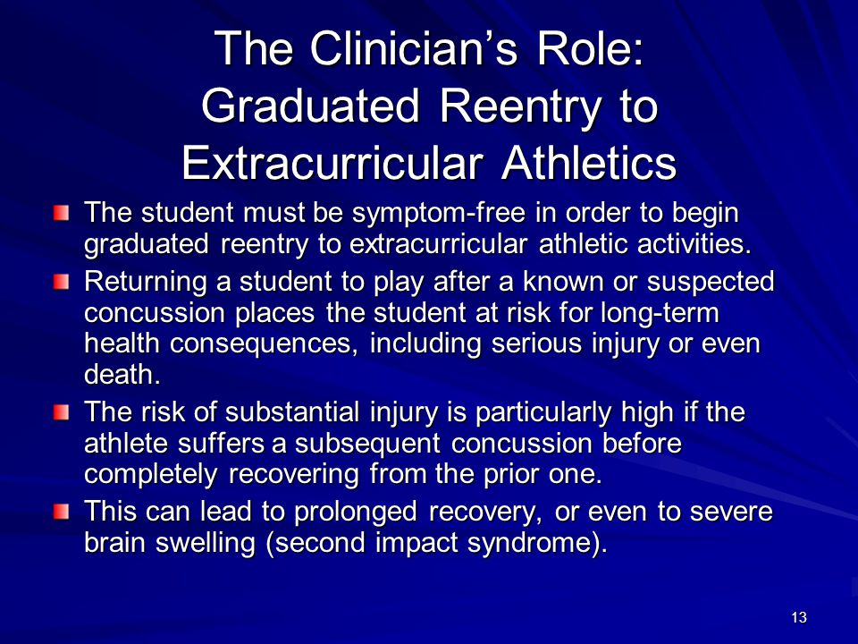 The Clinician's Role: Graduated Reentry to Extracurricular Athletics