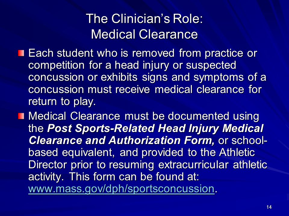 The Clinician's Role: Medical Clearance