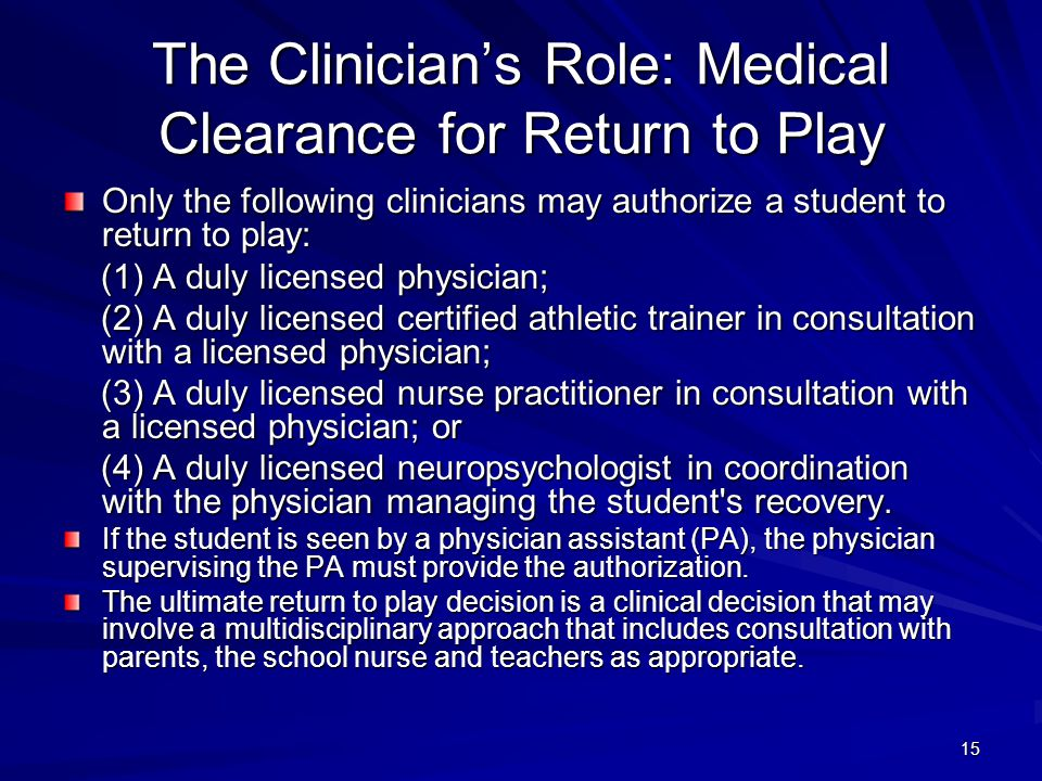 The Clinician's Role: Medical Clearance for Return to Play