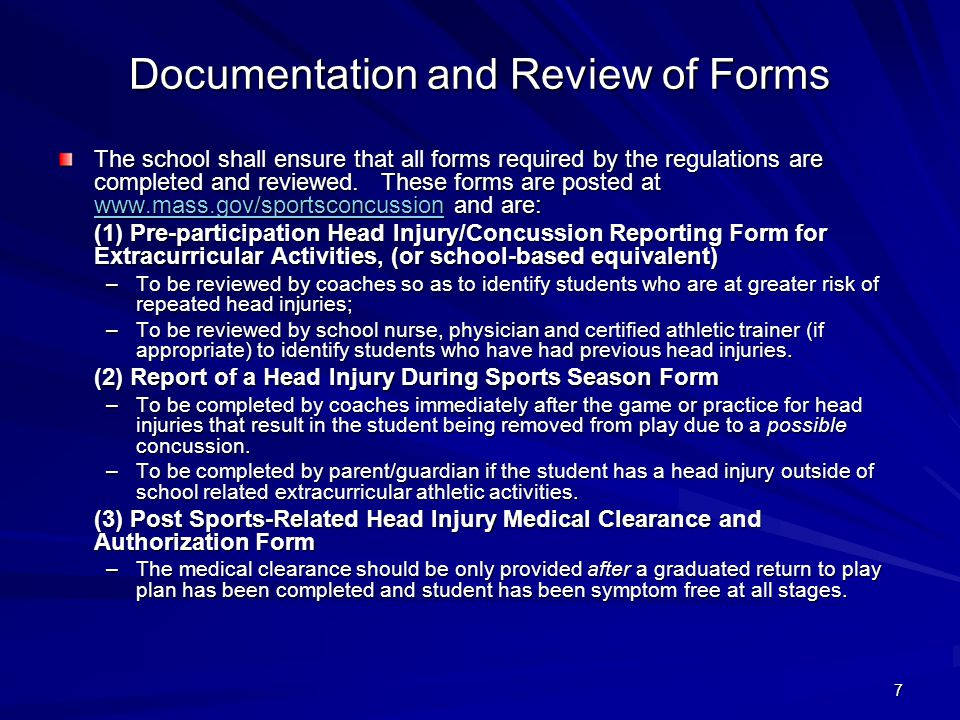 Documentation and Review of Forms