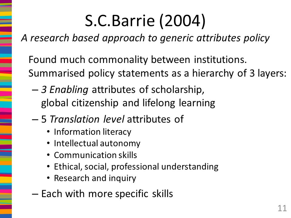 S.C.Barrie (2004) A research based approach to generic attributes policy