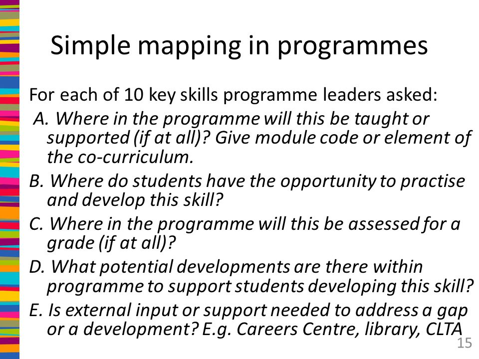 Simple mapping in programmes