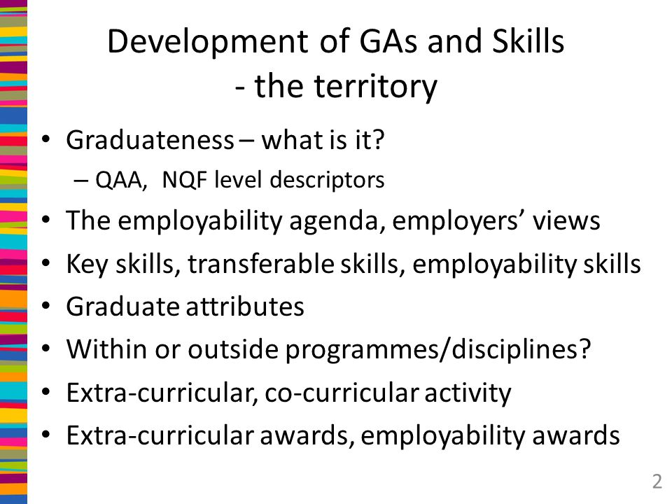 Development of GAs and Skills - the territory
