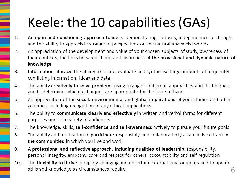 Keele: the 10 capabilities (GAs)
