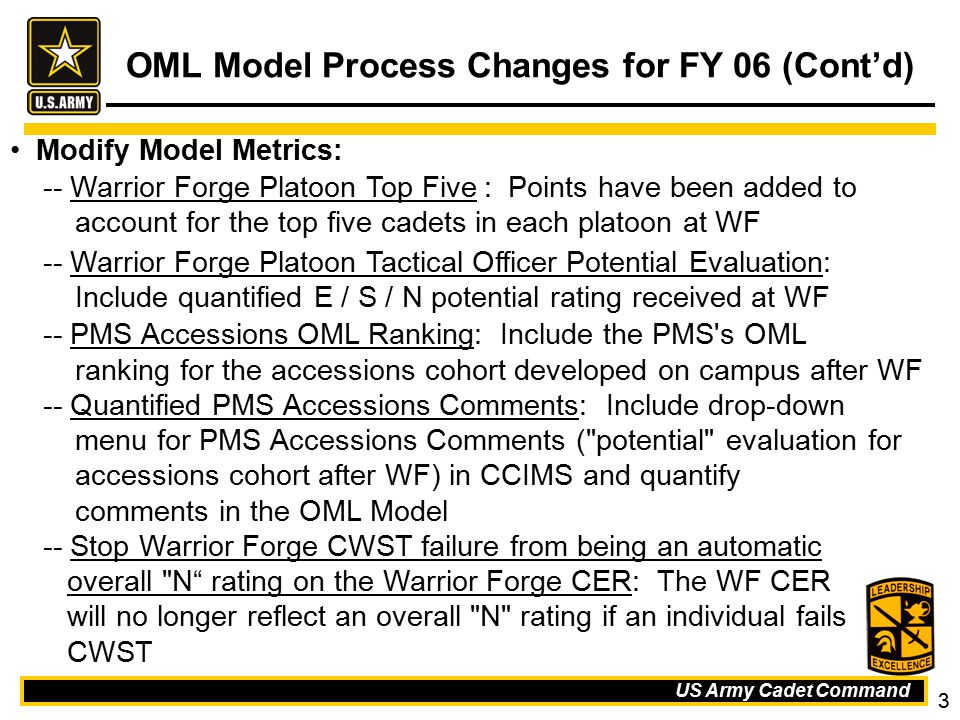 OML Model Process Changes for FY 06 (Cont'd)