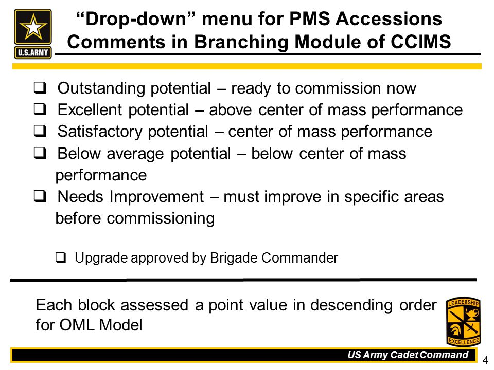 Drop-down menu for PMS Accessions Comments in Branching Module of CCIMS