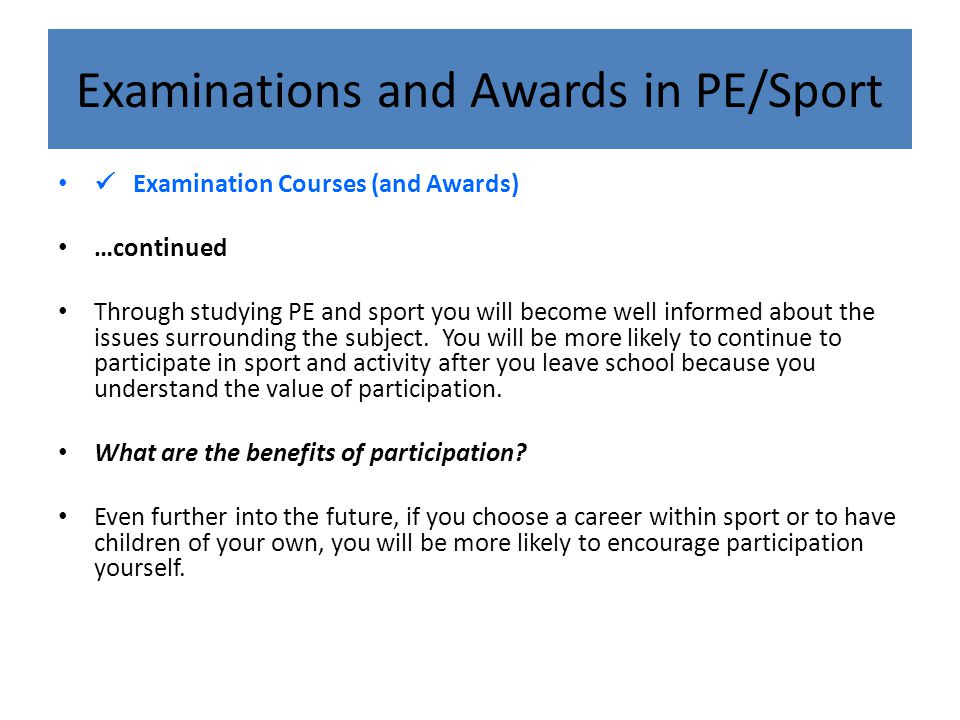 Examinations and Awards in PE/Sport