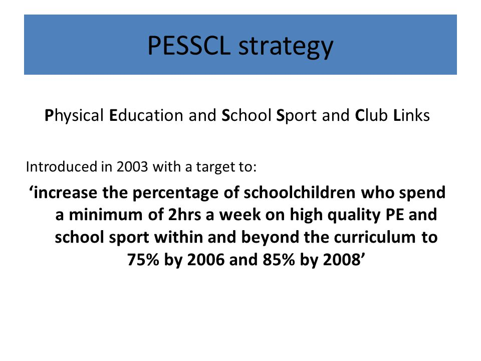 Physical Education and School Sport and Club Links