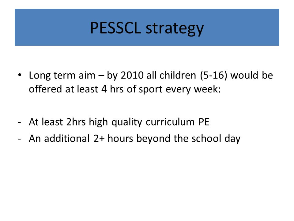 PESSCL strategy Long term aim – by 2010 all children (5-16) would be offered at least 4 hrs of sport every week: