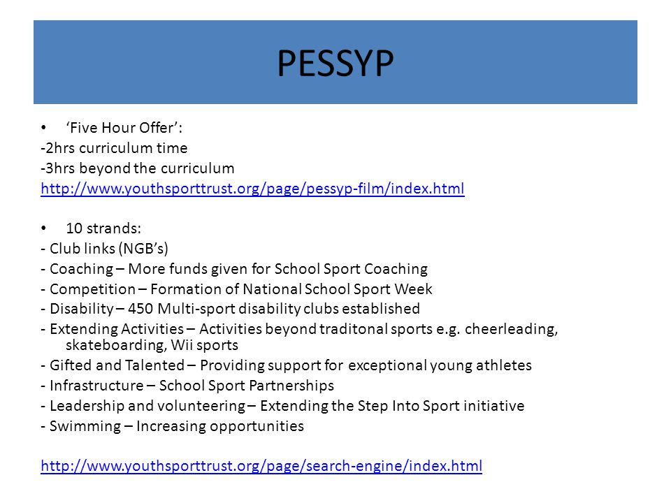 PESSYP 'Five Hour Offer': -2hrs curriculum time