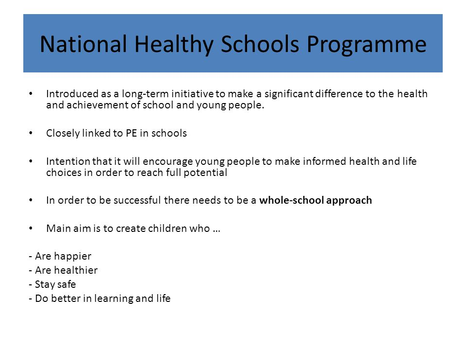 National Healthy Schools Programme