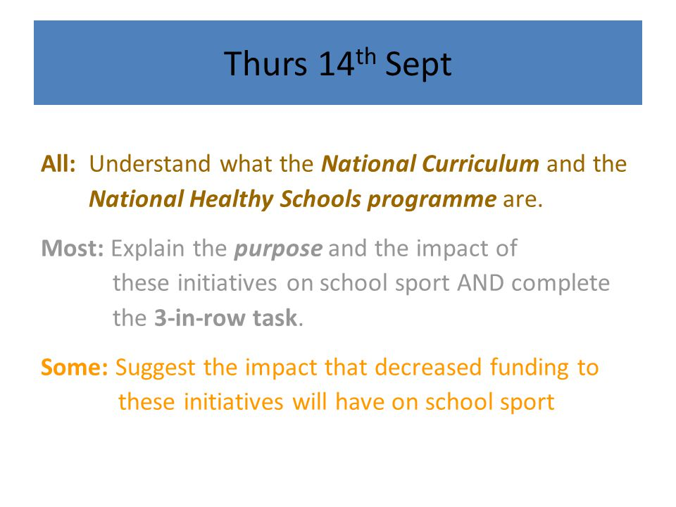 Thurs 14th Sept All: Understand what the National Curriculum and the