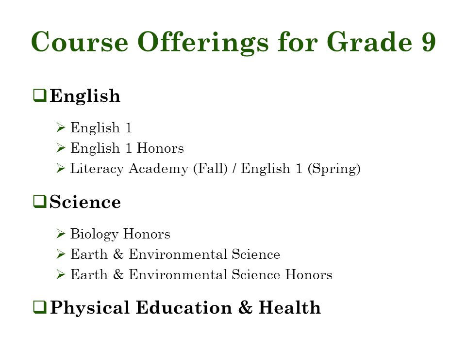 Course Offerings for Grade 9