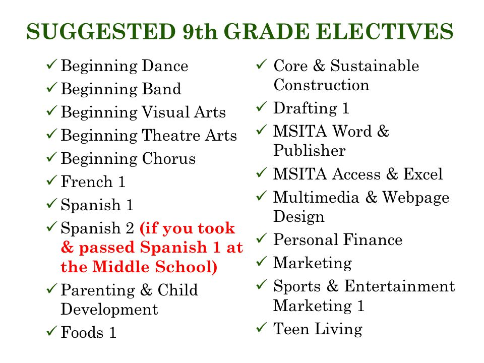 SUGGESTED 9th GRADE ELECTIVES