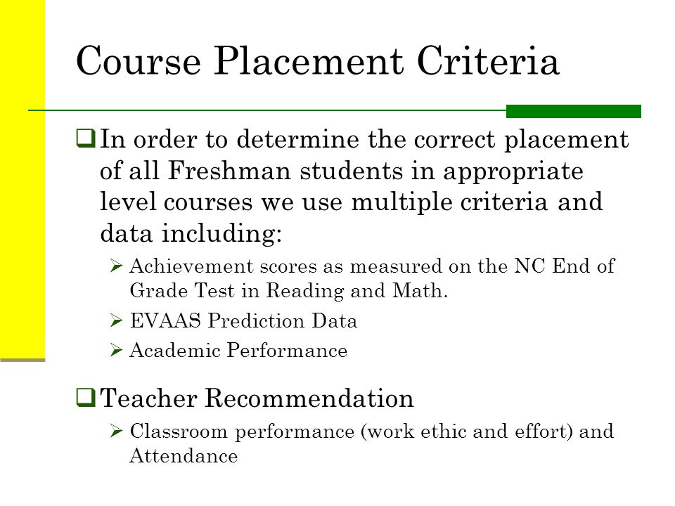 Course Placement Criteria
