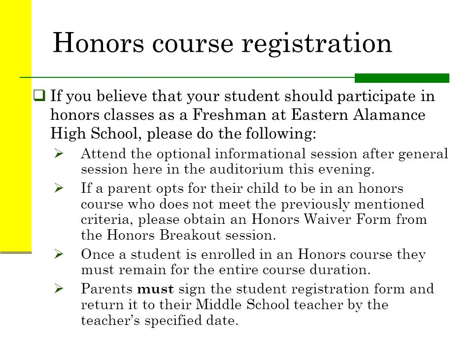 Honors course registration