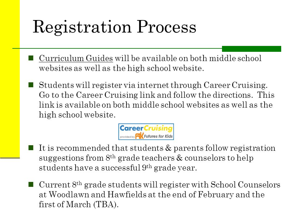 Registration Process Curriculum Guides will be available on both middle school websites as well as the high school website.