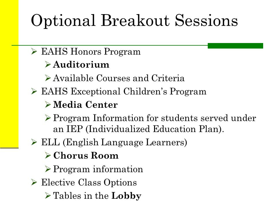 Optional Breakout Sessions