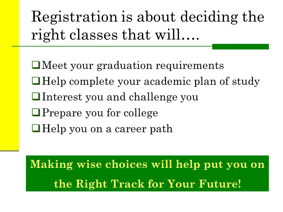 Registration is about deciding the right classes that will….