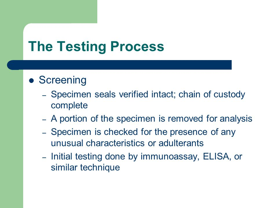 The Testing Process Screening