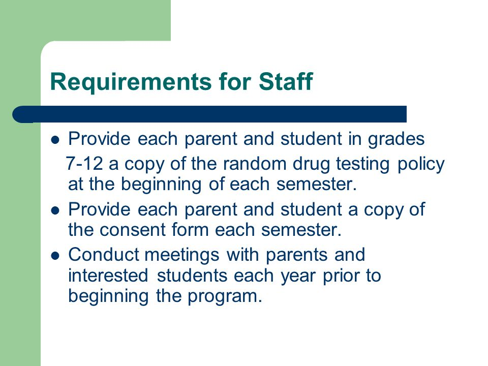 Requirements for Staff