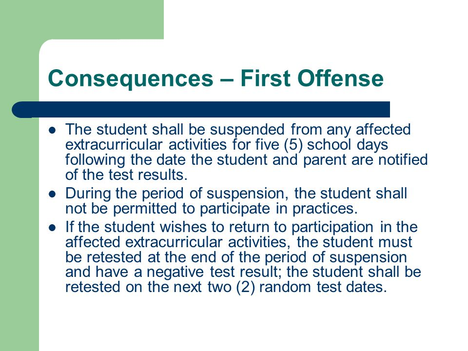 Consequences – First Offense