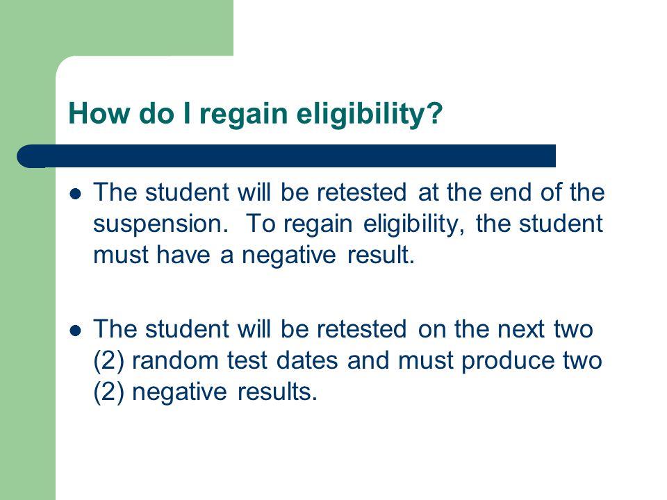 How do I regain eligibility