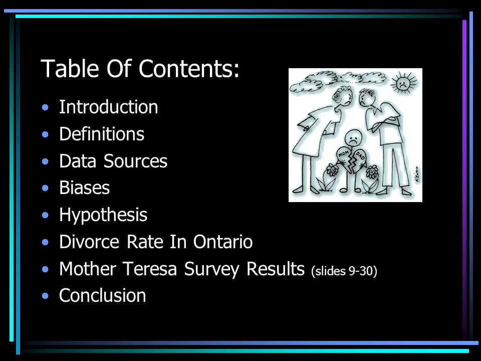 Table Of Contents: Introduction Definitions Data Sources Biases