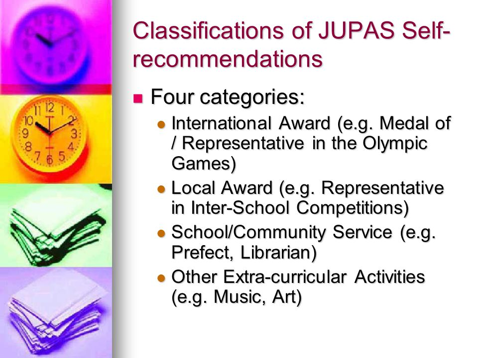 Classifications of JUPAS Self-recommendations