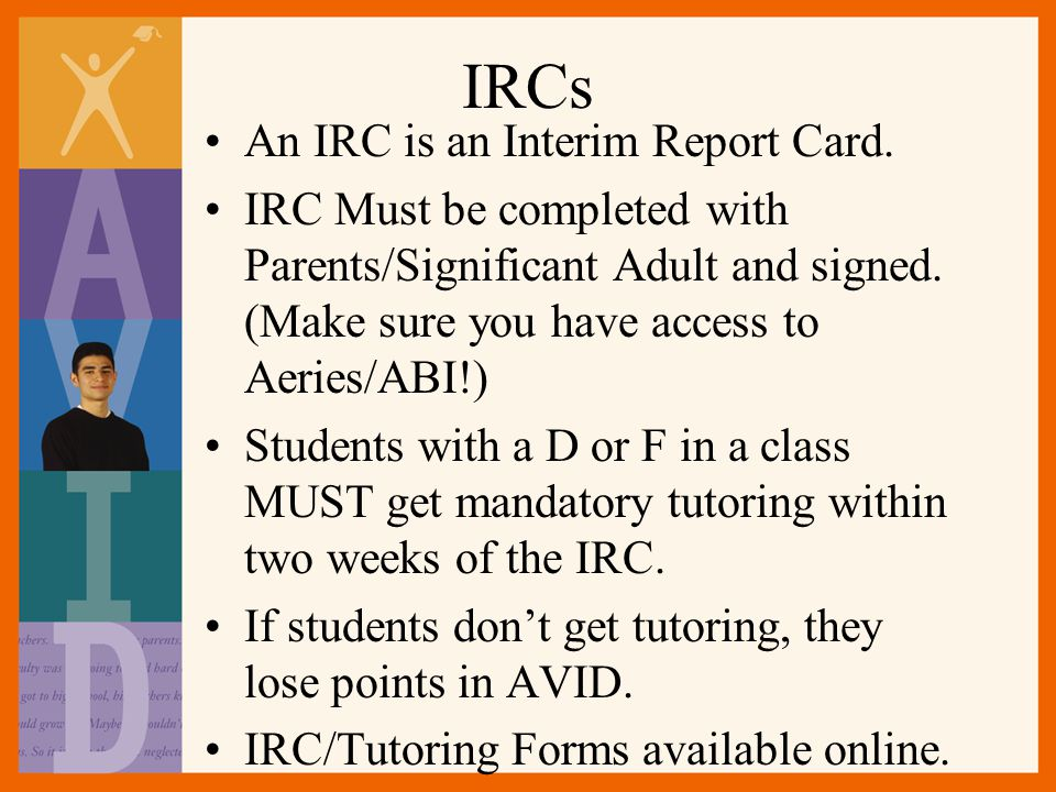 IRCs An IRC is an Interim Report Card.