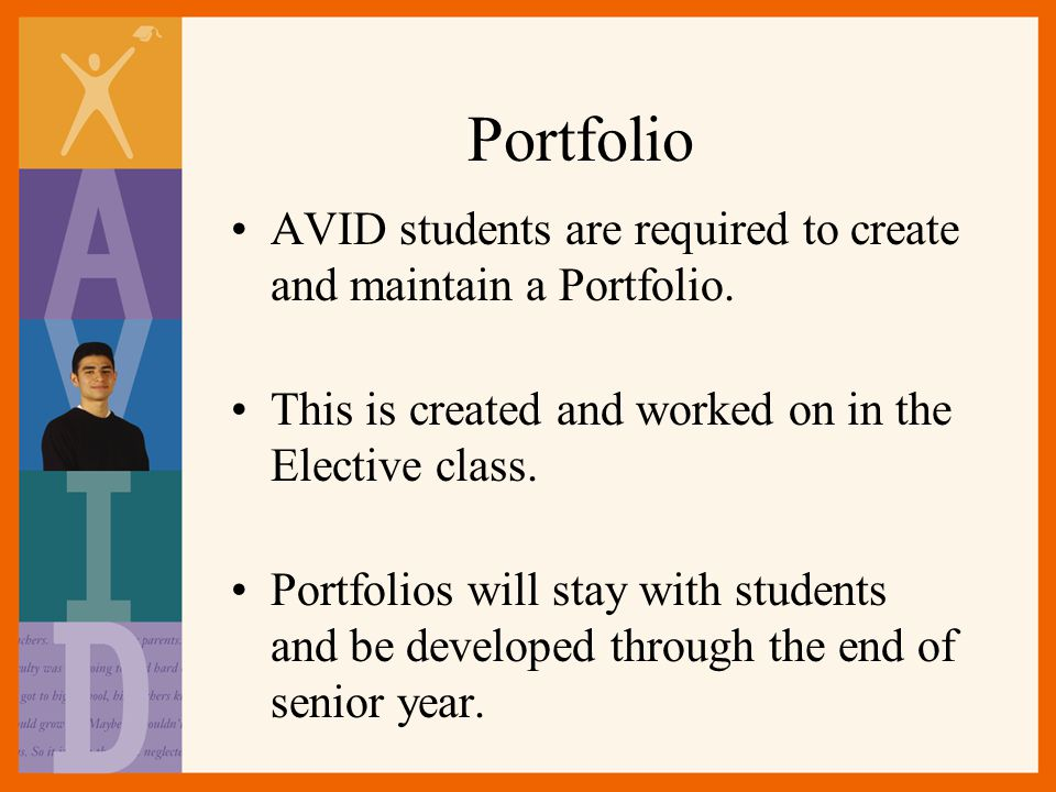 Portfolio AVID students are required to create and maintain a Portfolio. This is created and worked on in the Elective class.