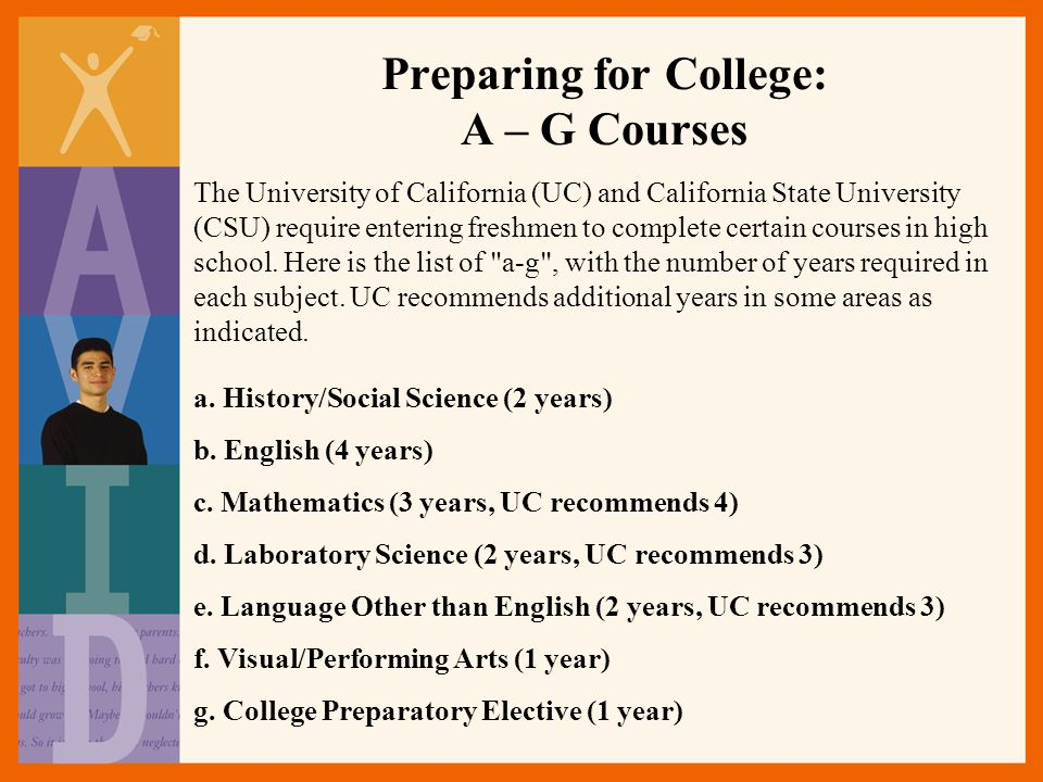 Preparing for College: A – G Courses