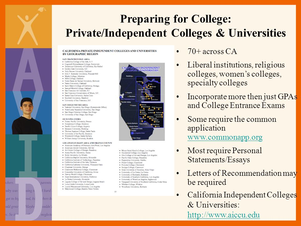 Preparing for College: Private/Independent Colleges & Universities