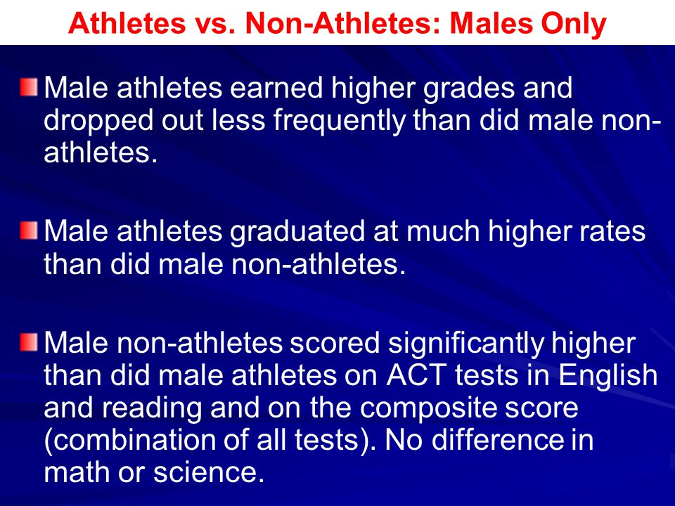 Athletes vs. Non-Athletes: Males Only
