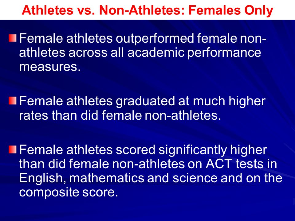 Athletes vs. Non-Athletes: Females Only