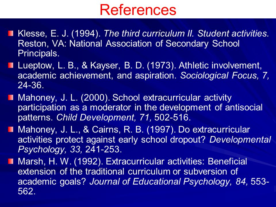 References Klesse, E. J. (1994). The third curriculum II. Student activities. Reston, VA: National Association of Secondary School Principals.