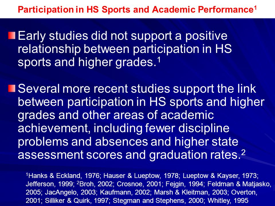 Participation in HS Sports and Academic Performance1
