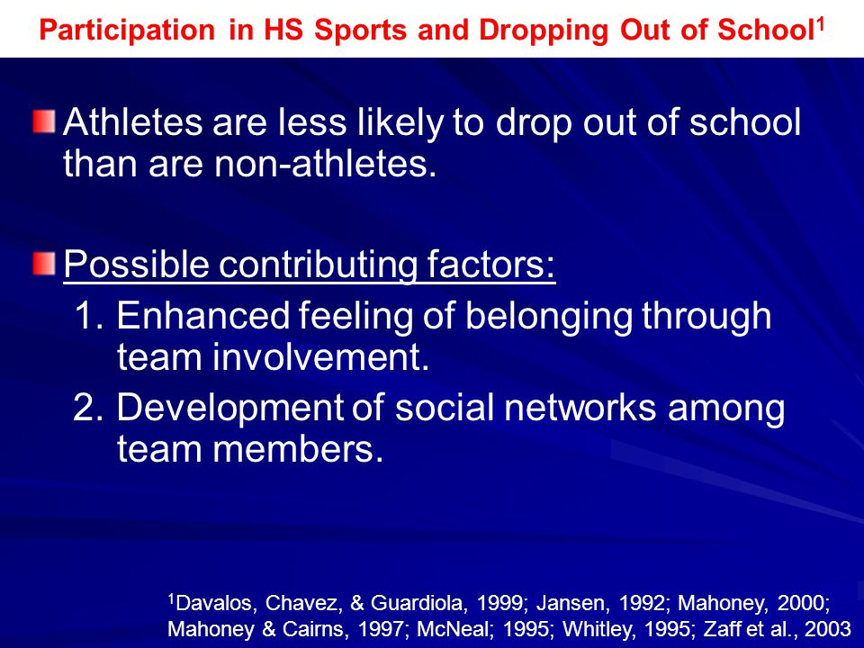 Participation in HS Sports and Dropping Out of School1