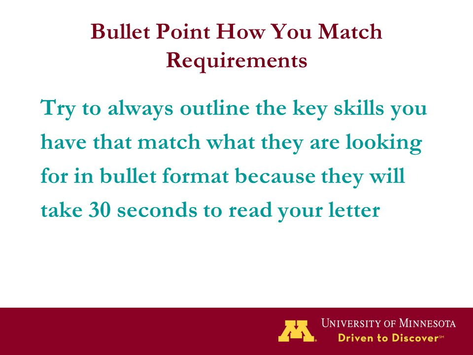 Bullet Point How You Match Requirements