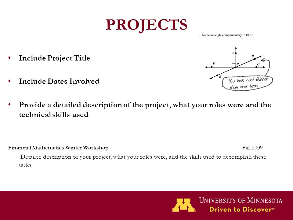 PROJECTS Include Project Title Include Dates Involved