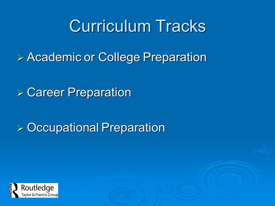 Curriculum Tracks Academic or College Preparation Career Preparation