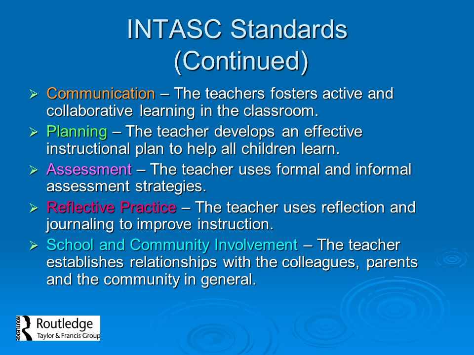 INTASC Standards (Continued)