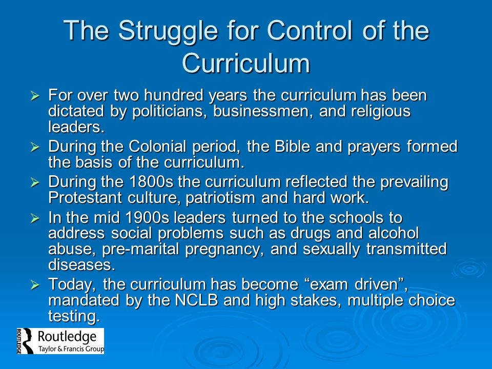 The Struggle for Control of the Curriculum