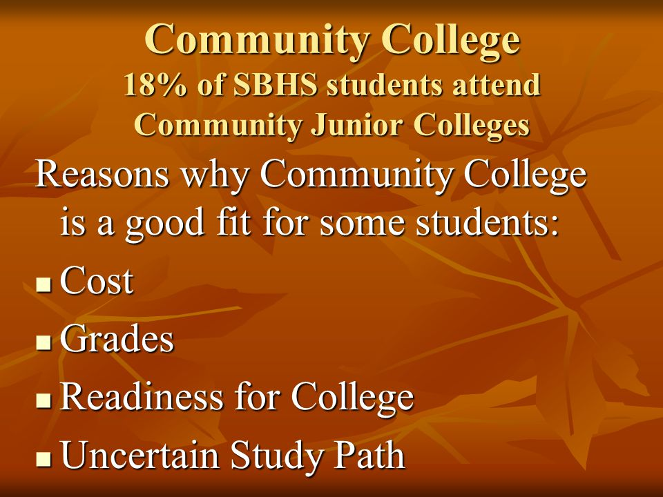 Community College 18% of SBHS students attend Community Junior Colleges