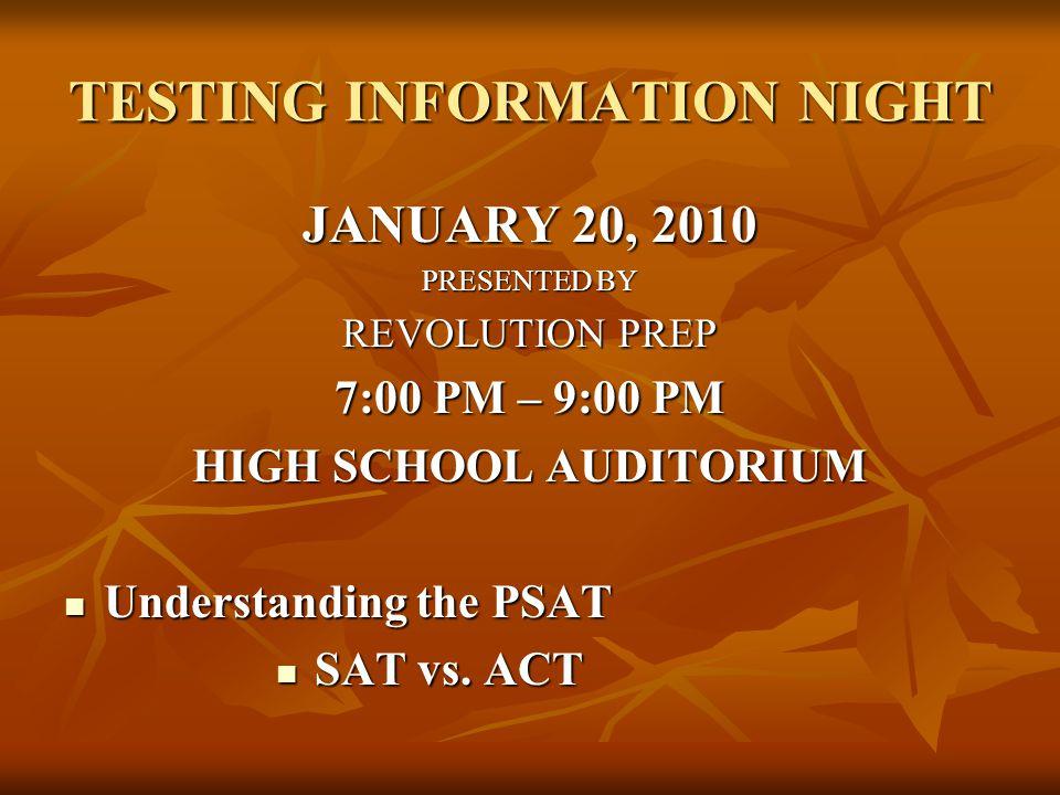 TESTING INFORMATION NIGHT