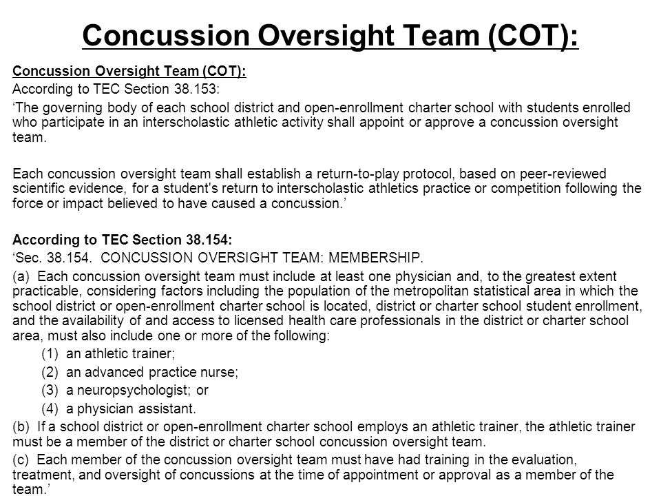 Concussion Oversight Team (COT):