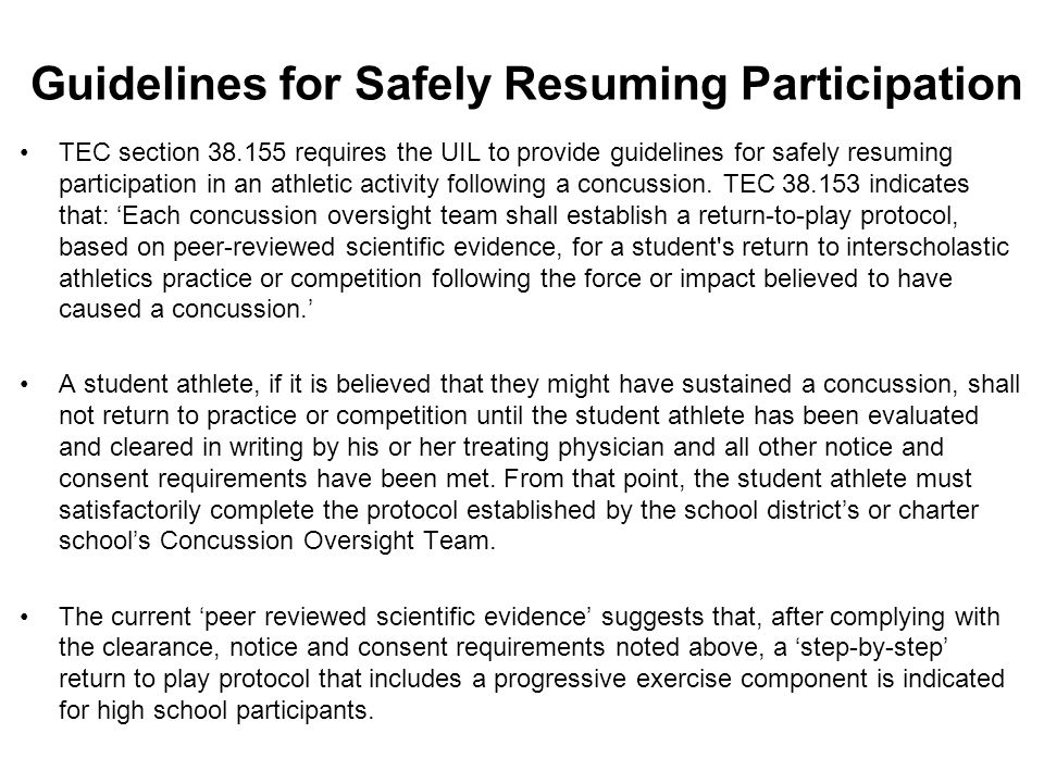 Guidelines for Safely Resuming Participation